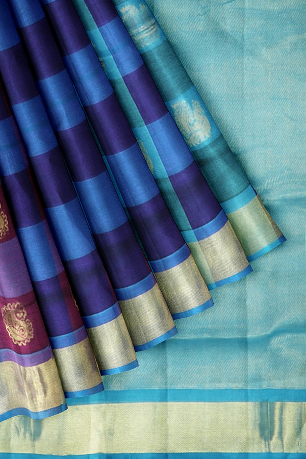 Silk cotton Saree Blue and Sky Blue with Buttas and Paalum Pazhamum Checks with Zari Border