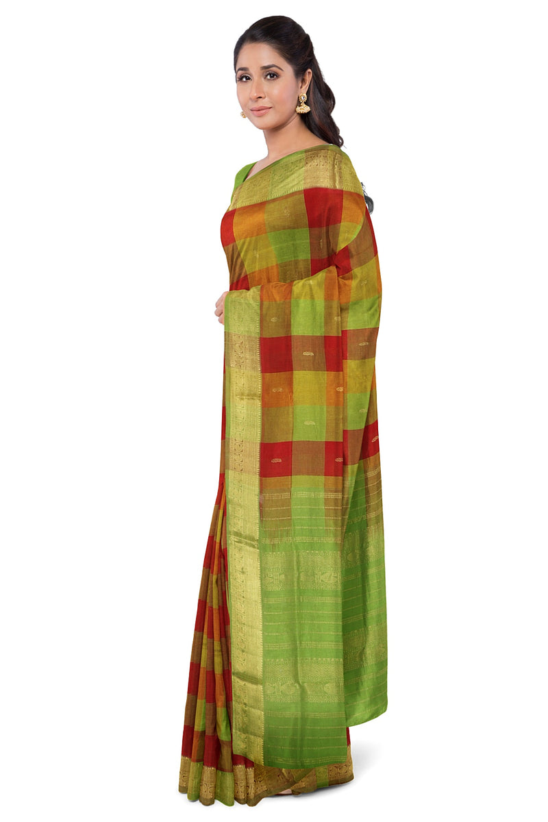 Silk Cotton Saree Maroon and Moss Green with Buttas and paalum Pazhamum checks with Mango zari Border
