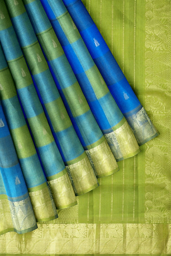 Silk Cotton Saree Sky Blue and Pear Green with Butas and paalum Pazhamum checks with Temple Zari border