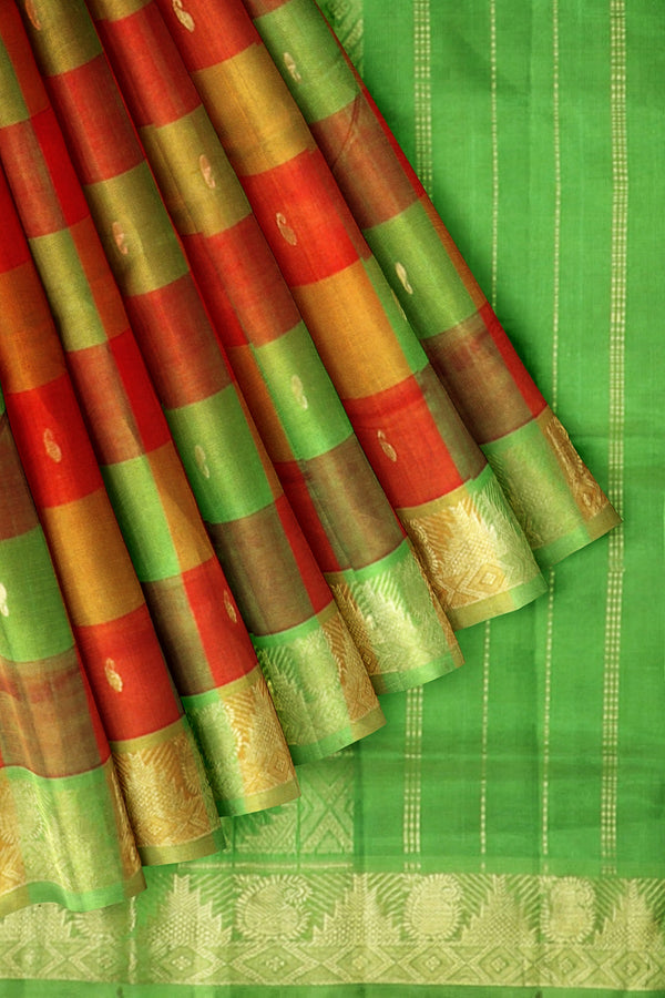 Silk Cotton Saree Brick Orange and Moss Green with Buttas and Paalum pazhamum Checks with temple Zari Border