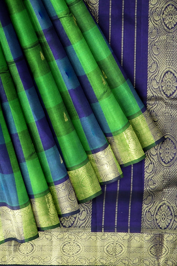 Silk Cotton Saree Green and Blue with Buttas and Paalum Pazhamum checks with Floral Zari Border