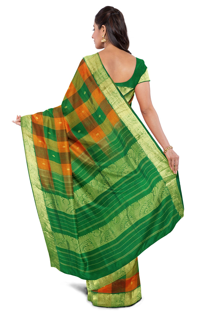 Silk Cotton Saree Green and Orange with buttas and Paalum Pazhamum checks with mango zari Border