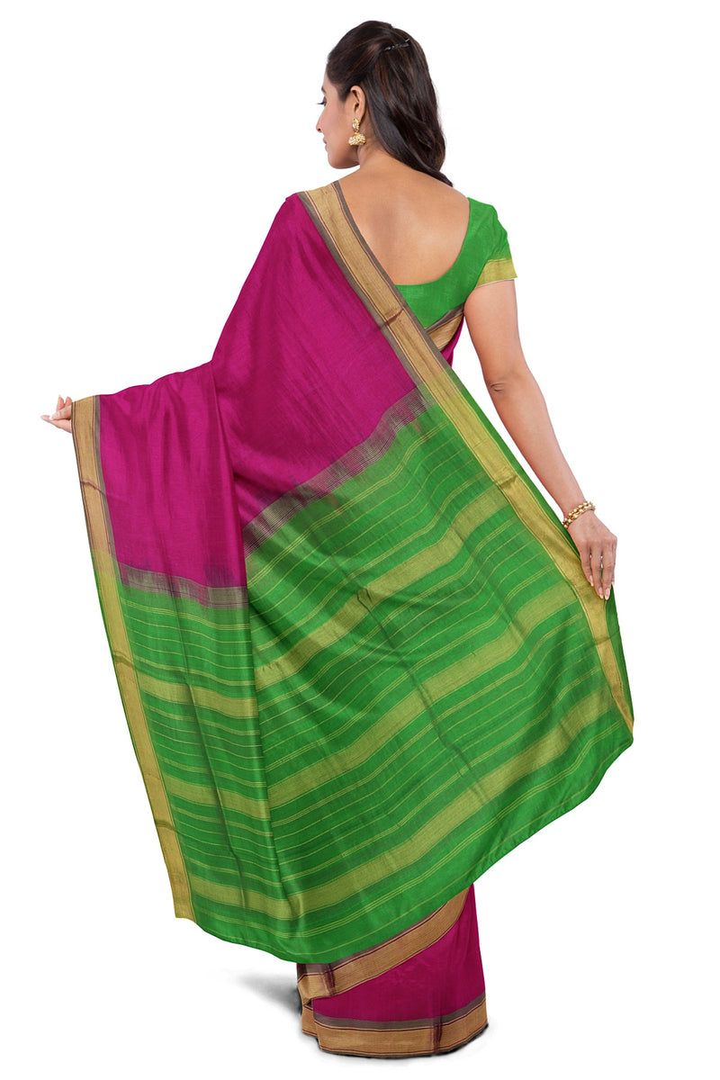 Silk Cotton Saree Pink and Light Green with Simple zari Border