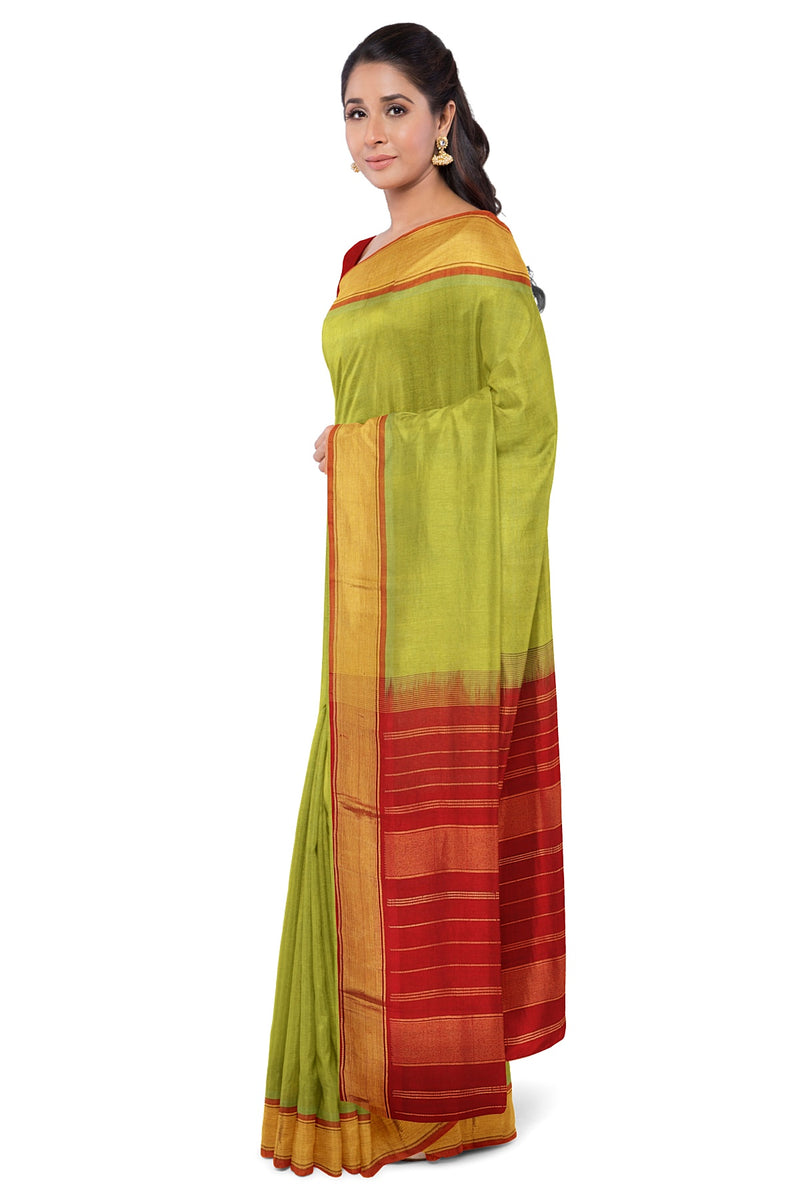 Silk cotton saree Lime Green and Red with Simple zari border