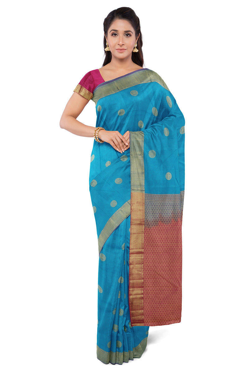 Pure kanjivaram Silk Saree peacock blue and pink with coin style figure buttas