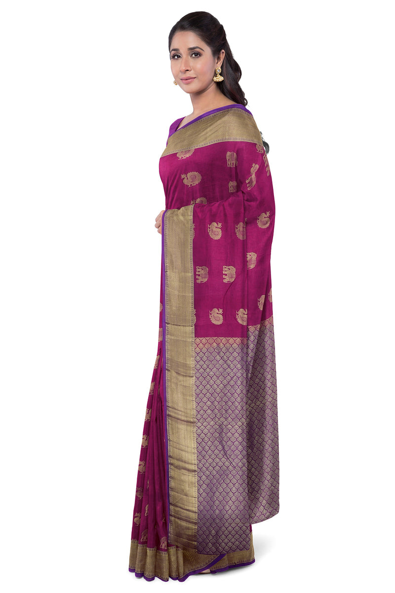 Pure Kanjivaram silk saree peacock magenta and violet with bavanji border and peacock and elephant butta