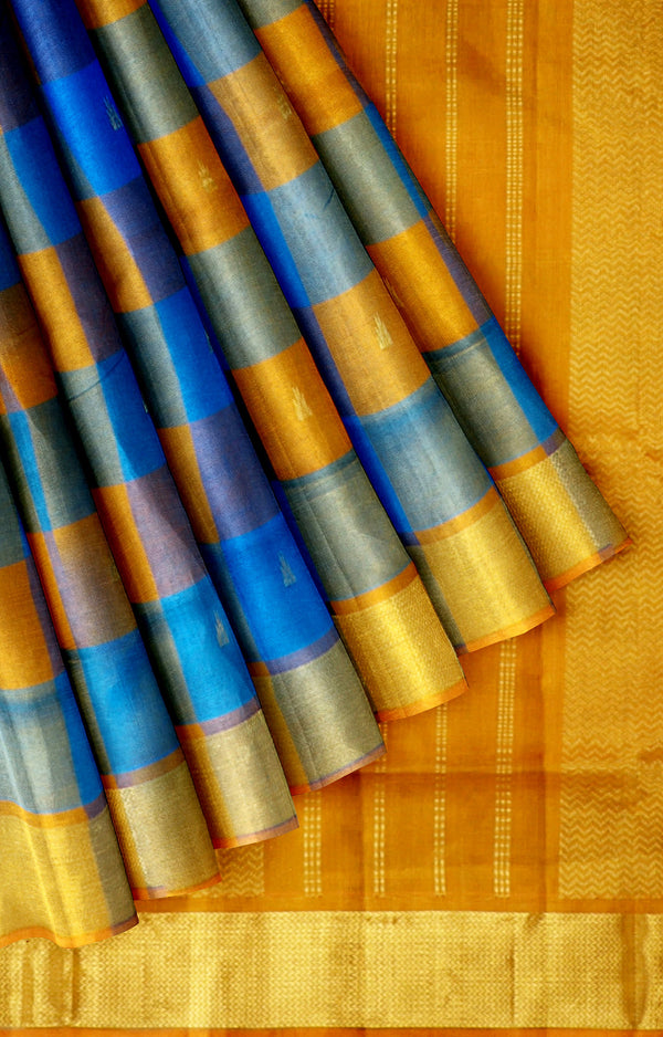 Silk Cotton Saree blue with yellow paalum pazhamum checks