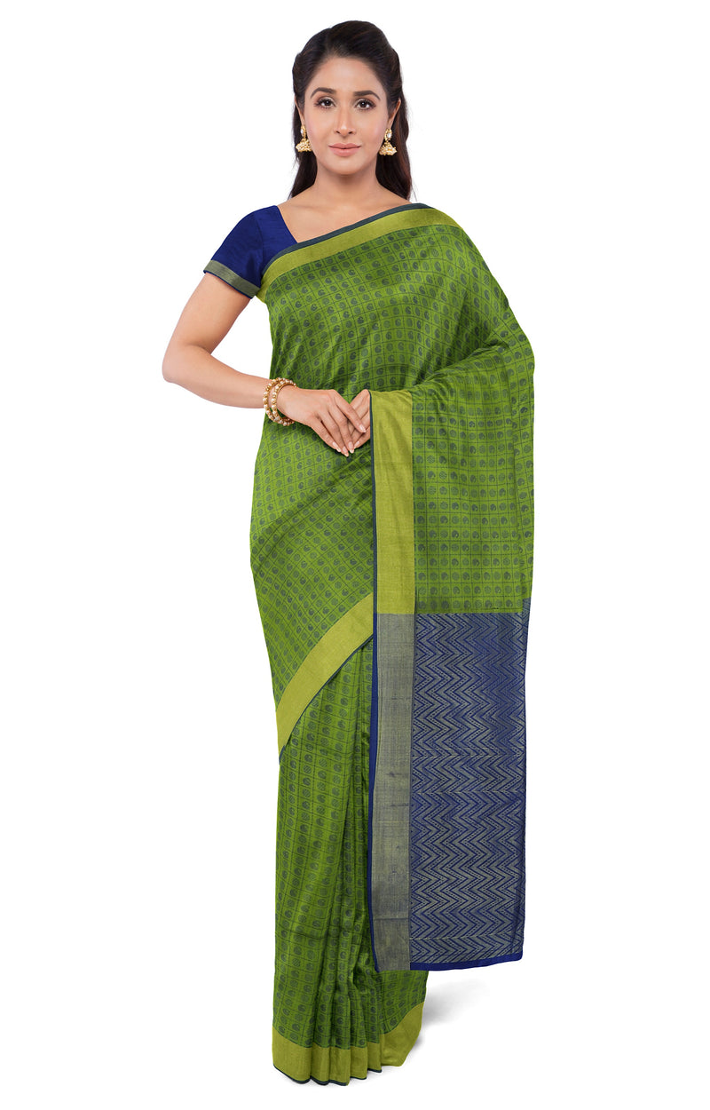 Light weight threadwork silk cotton saree leaf green and blue with checked pattern