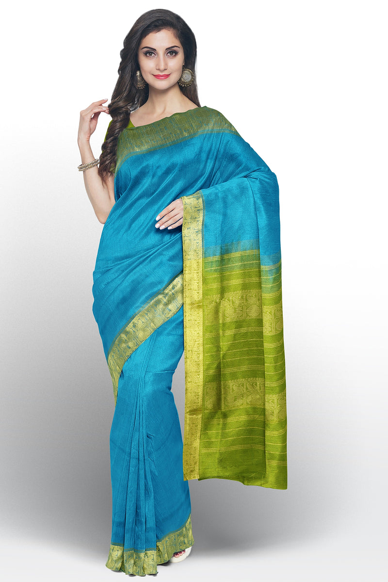 Silk Cotton saree copper sulphate blue and elachi green with golden zari paisley annam border