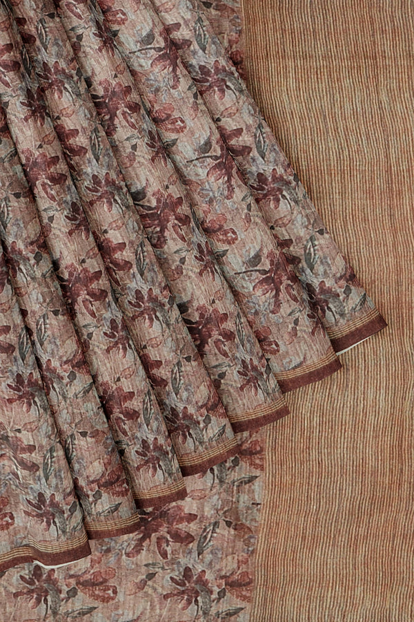 Bhagalpuri printed saree brown with all over leaf prints