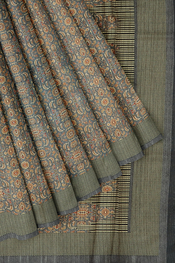 Bhagalpuri printed saree grey with all over floral prints for Rs.Rs. 1470.00 | Bhagalpuri Sarees by Prashanti Sarees
