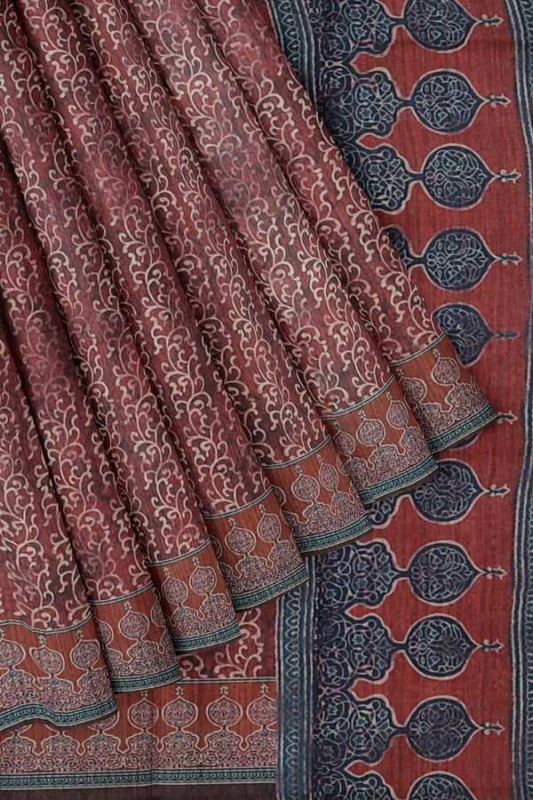 Bhagalpuri printed saree wine colour with all over prints