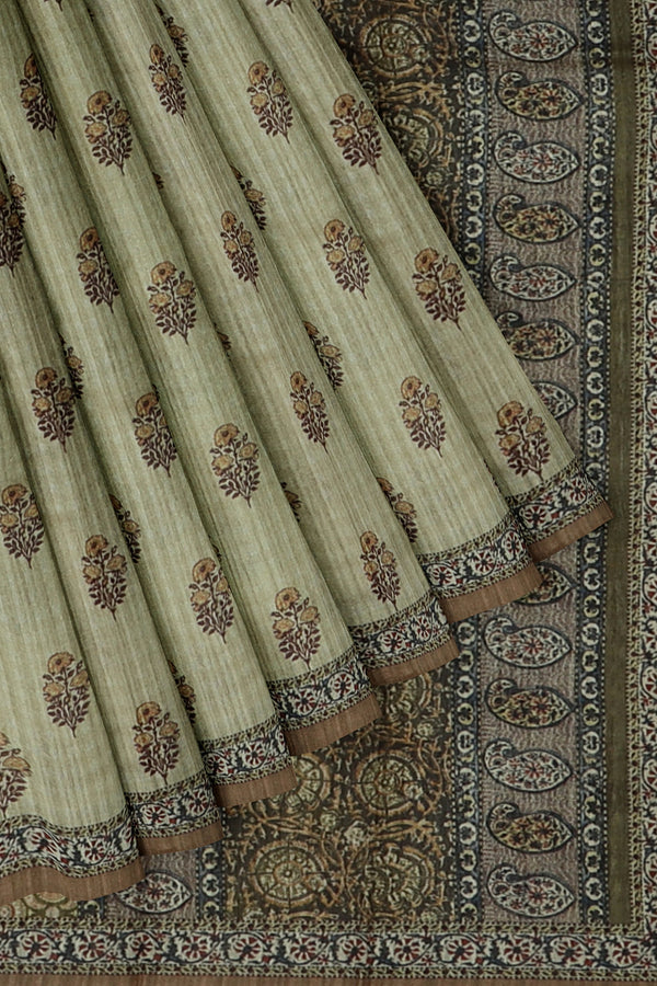 Bhagalpuri printed saree beige and brown with floral buttas