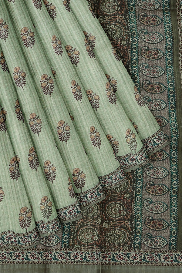 Bhagalpuri printed saree green with floral buttas