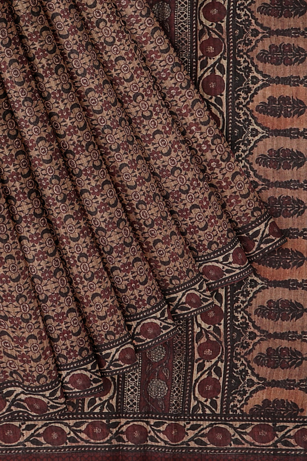 Bhagalpuri printed saree brown shade with all over print
