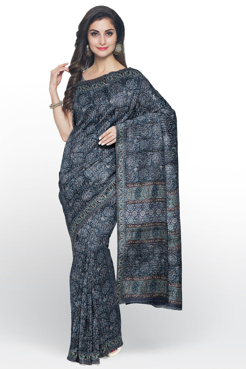 Bhagalpuri printed saree blue with all over print
