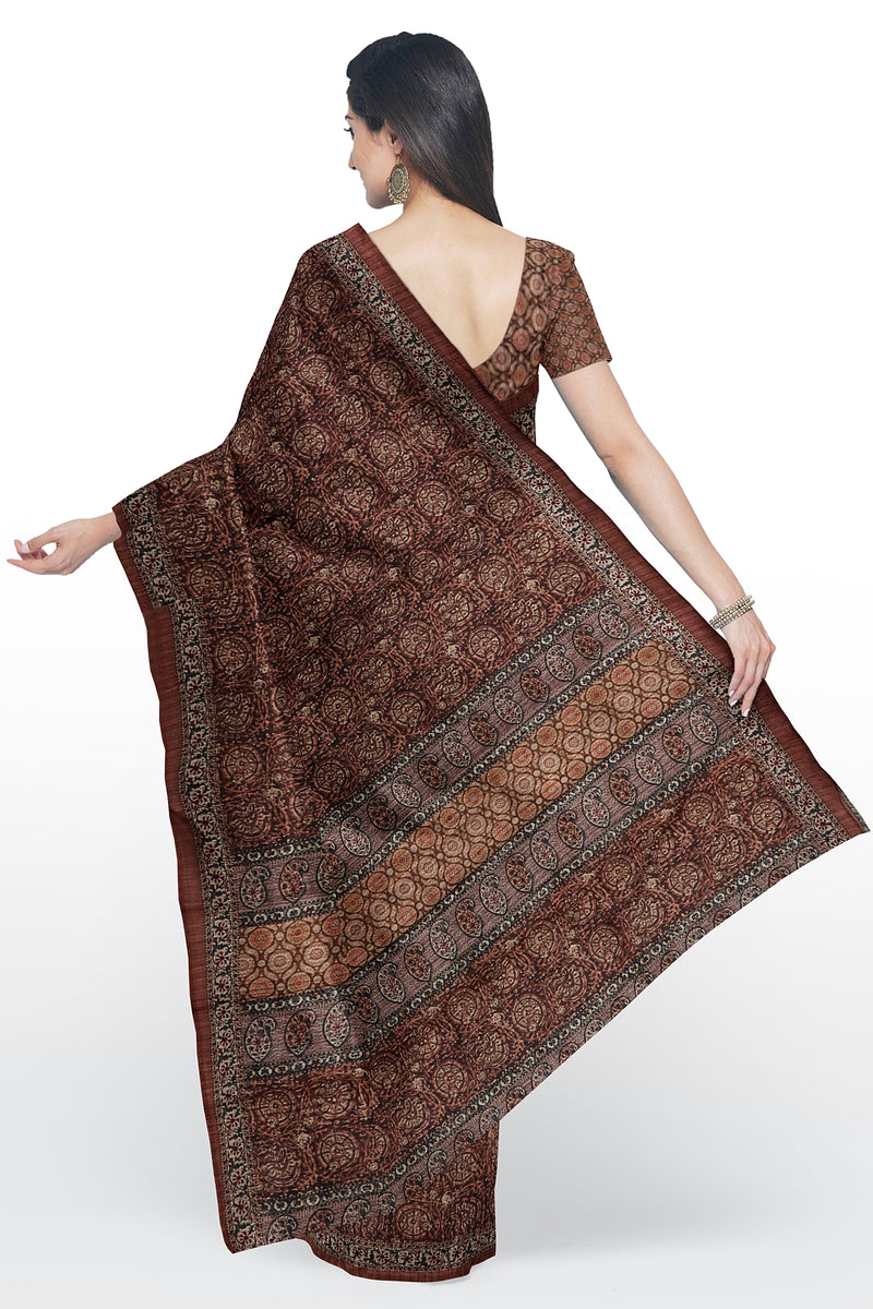 Bhagalpuri printed saree brown with all over print
