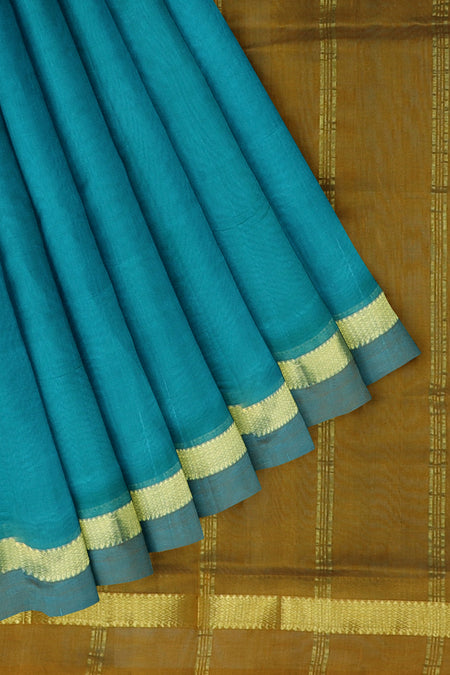 Silk Cotton Saree peacock blue and honey with simple golden zari border