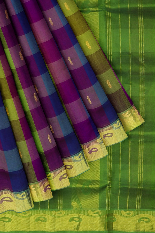 Silk Cotton Saree Multi color checked pattern with overall zari buttas and paisley zari border 10 Yards