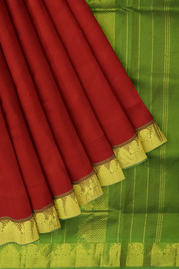 Silk Cotton Saree Red and green with golden zari peacock temple border 10 Yards
