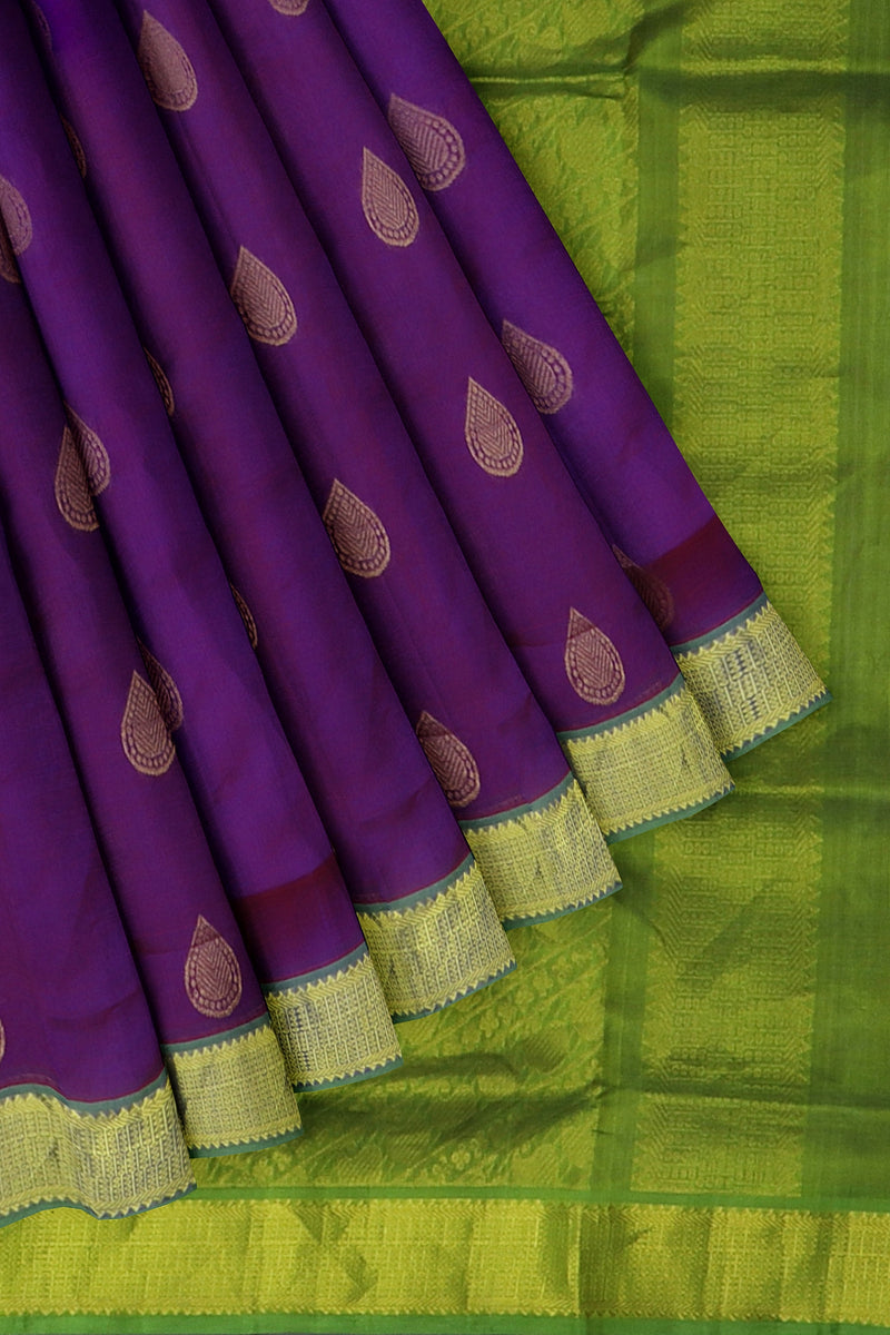 Silk Cotton Saree Dual shade of violet and green with overall buttas and golden zari border 10 Yards