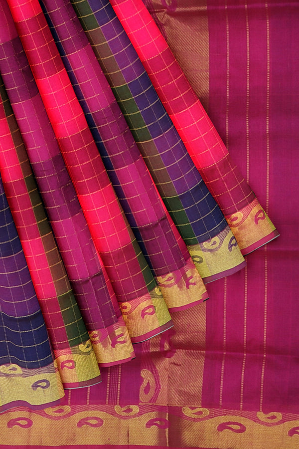 Silk Cotton Saree Multi color checked pattern with golden zari paisley border 10 Yards