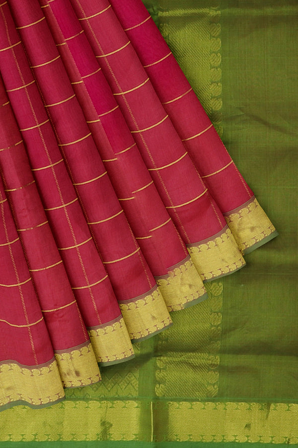 Silk Cotton Saree Onion pink and green with zari checks and golden zari paisley Border 10 Yards
