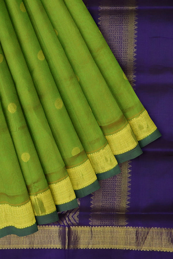 Silk Cotton Saree Green and blue with overall zari buttas and golden zari border 10 Yards