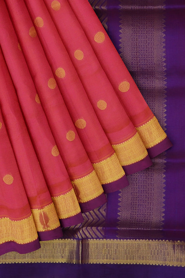 Silk Cotton Saree Dual shade of pink and blue with overall zari buttas and golden zari border 10 Yards