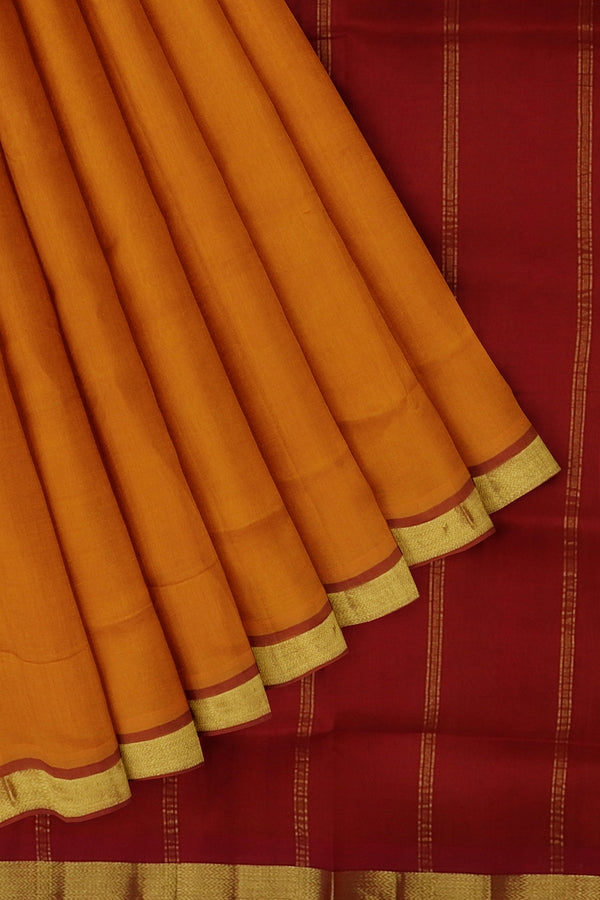 Silk Cotton Saree Tiger orange and maroon with golden zari bavanji border 10 Yards