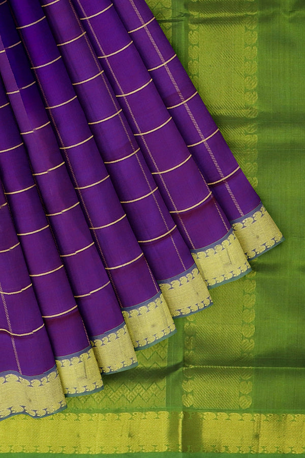 Silk Cotton Saree Dual shade of violet and green with overall zari checks and paisley border 10 Yards
