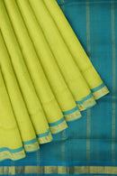 Silk Cotton Saree Lemon yellow and sky blue with simple golden zari bavanji border 10 Yards