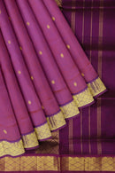 Silk Cotton Saree Dual shade of violet and purple with golden zari buttas and golden zari border 10 Yards
