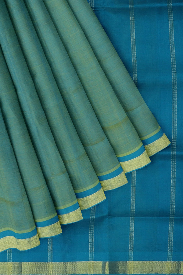 Silk Cotton Saree Dual shade of Yellow and coppeer sulphate blue with golden zari bavanji border 10 Yards