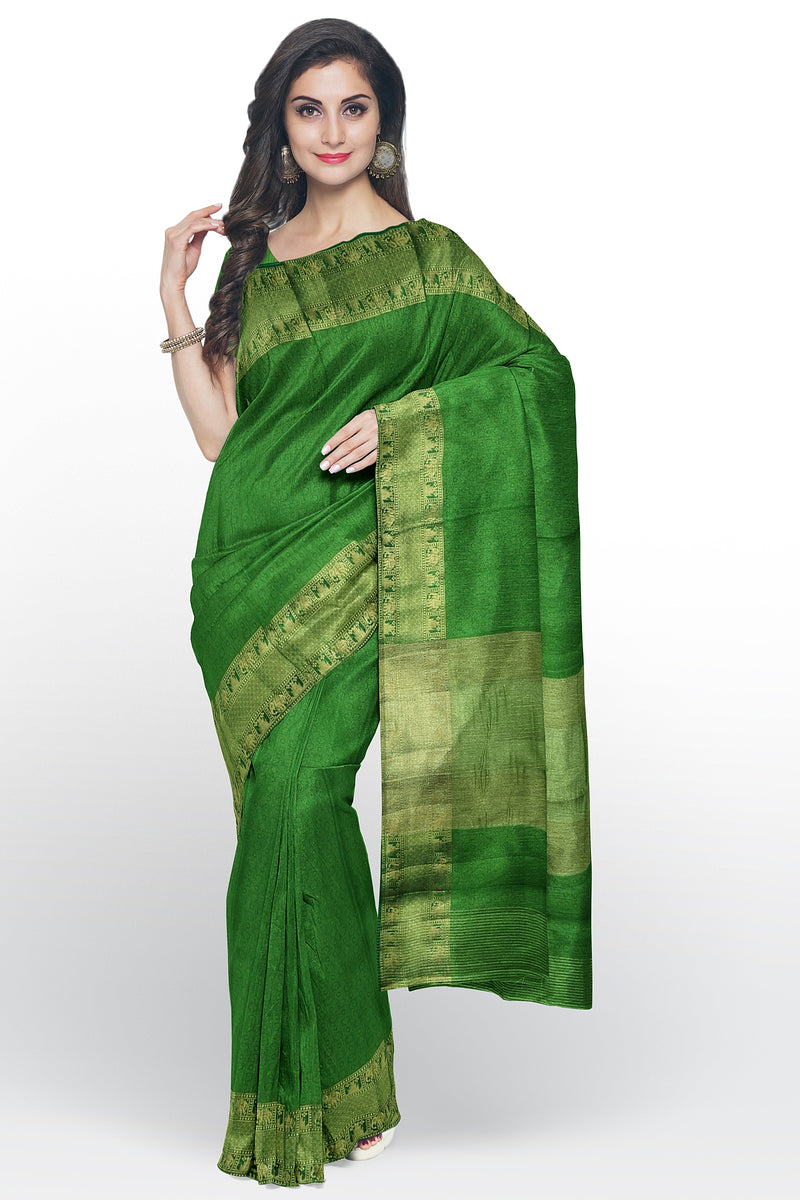 Semi raw silk saree green with kanji style border and emboss pattern