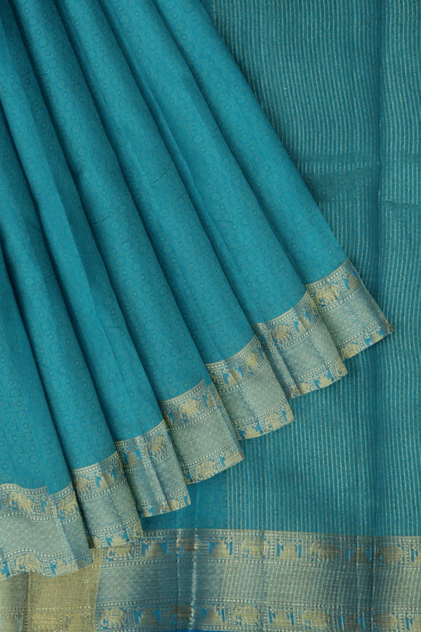 Semi raw silk saree copper sulphate blue with kanji style border and emboss pattern