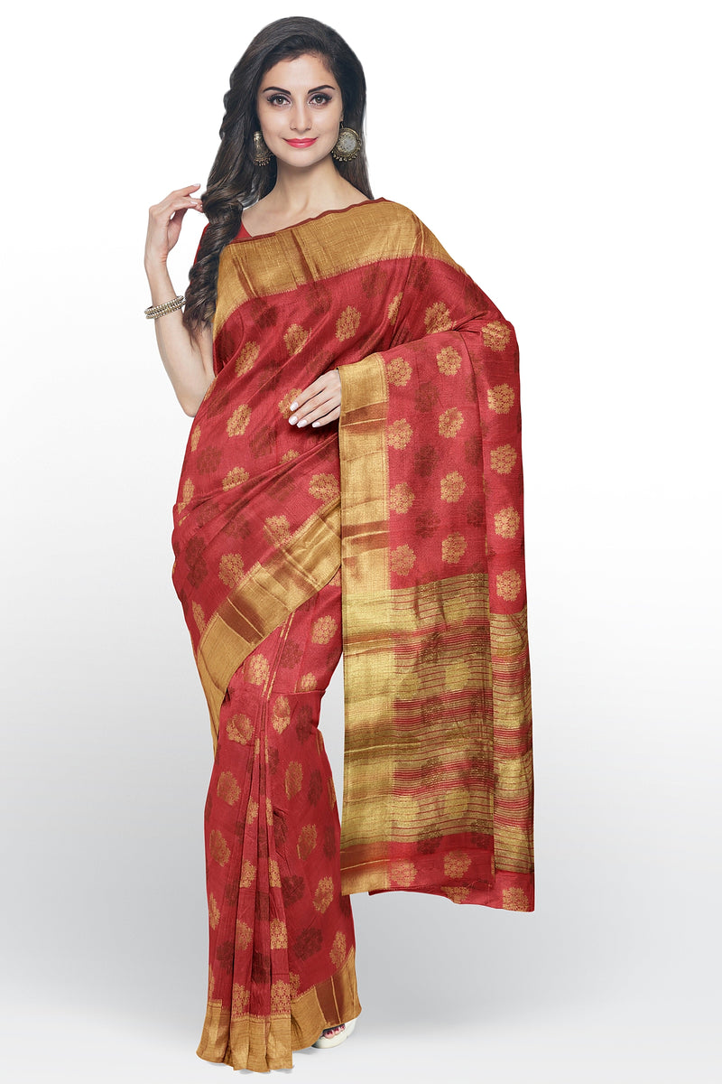 Semi raw silk saree peach with bavanji border and zari butta