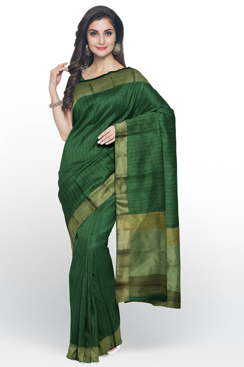Semi raw silk saree green with leaf embose pattern and zari border