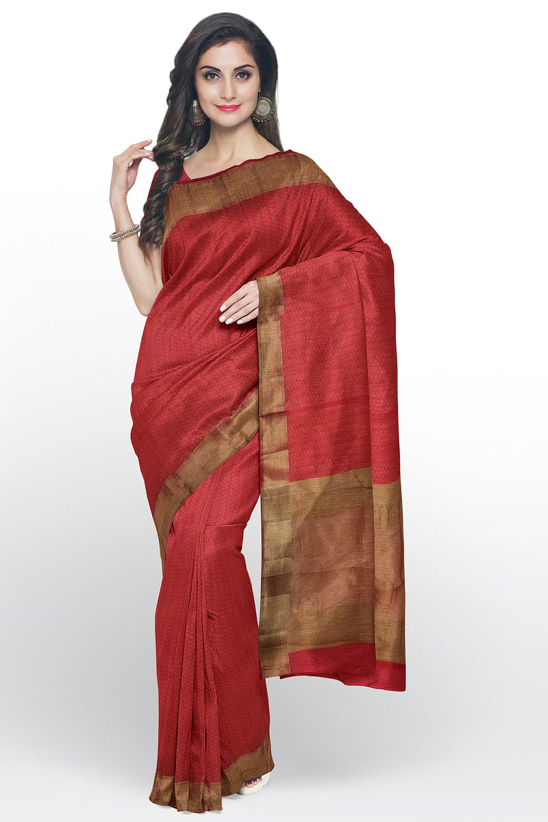 Semi raw silk saree pink with leaf embose pattern and zari border