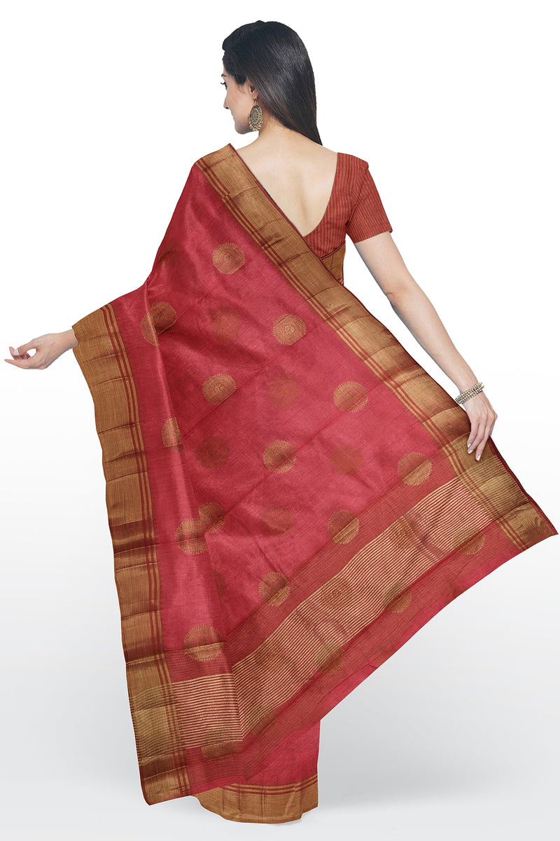 Semi raw silk saree red with peacock zari butta and temple zari border