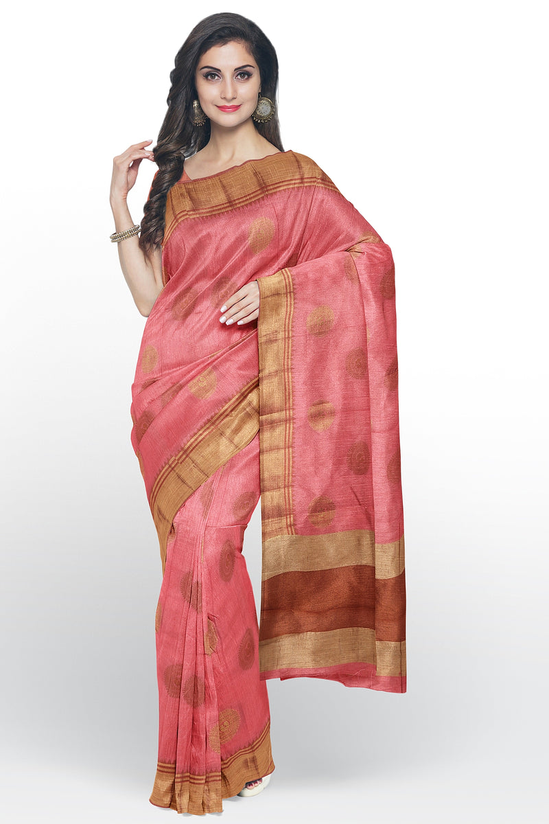 Semi raw silk saree mauve pink with peacock zari butta and temple zari border