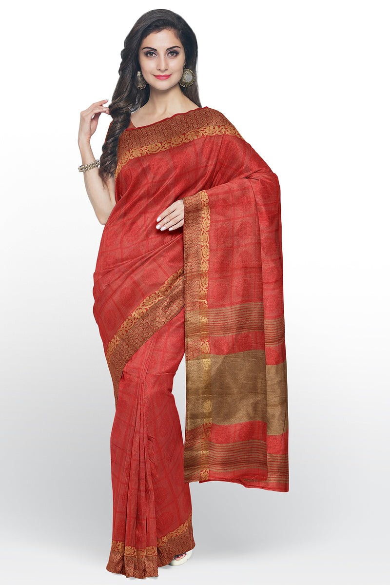 Semi raw silk saree red checked embose pattern with thread and zari border
