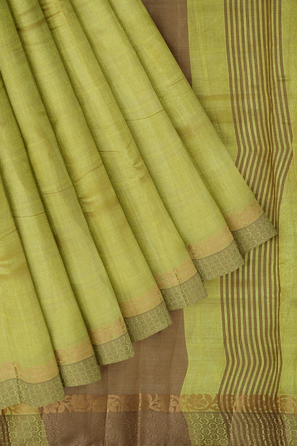 Semi raw silk saree mild yellow checked embose pattern with thread and zari border