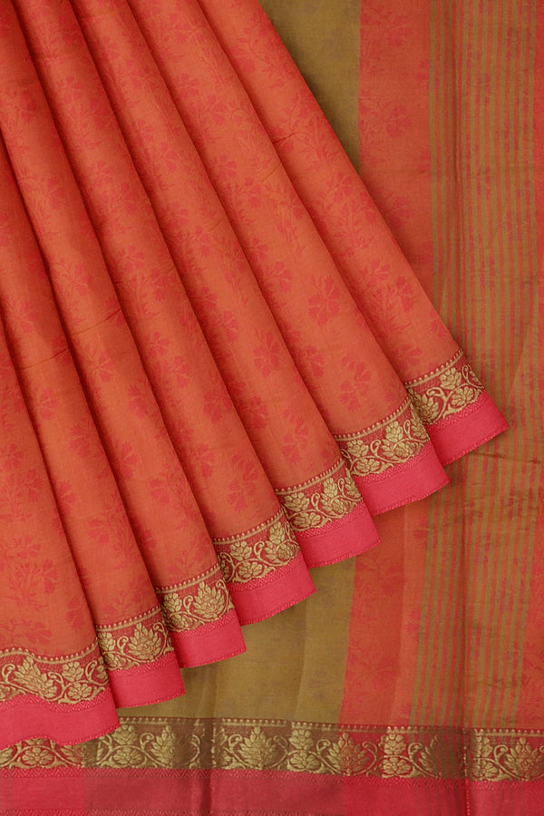 Semi raw silk saree yellow and pink with self embose and floral zari border