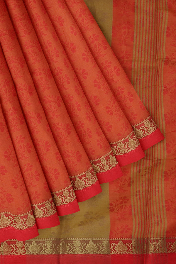 Semi raw silk saree golden yellow and tomato red with self embose and floral zari border