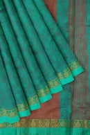 Semi raw silk saree dual shade of green with self embose and floral zari border