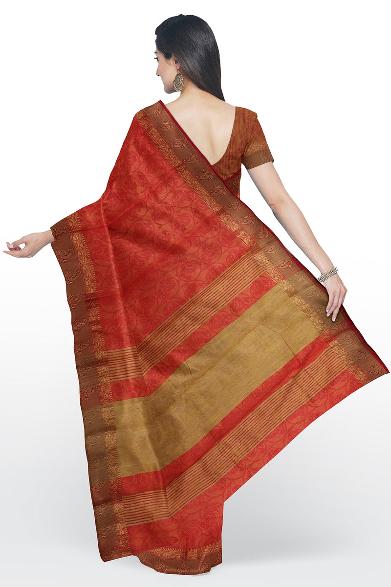 Semi raw silk saree golden yellow and red with self embose pattern and thread and zari border