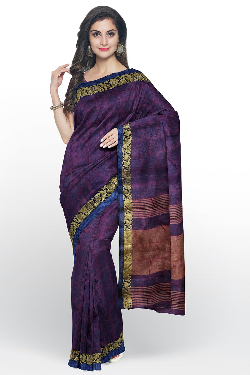 Semi raw silk saree purple and blue with self embose pattern and thread and zari border