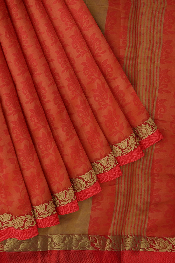 Semi raw silk saree red with self embose pattern and thread and zari border