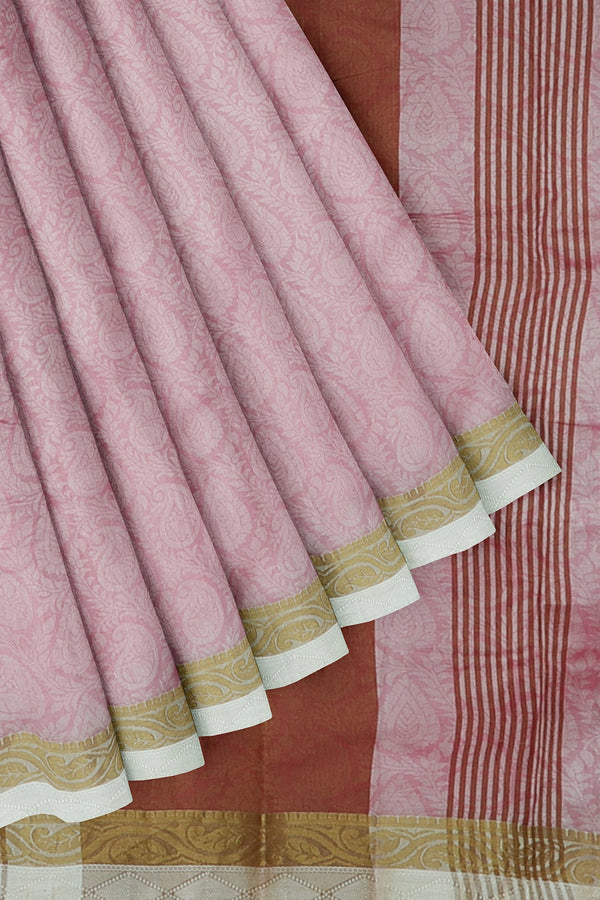 Semi raw silk saree off white and pink with floral embose pattern and mango zari border